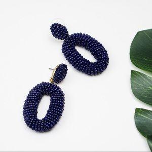 J.Crew Beaded oval dangle statement earrings